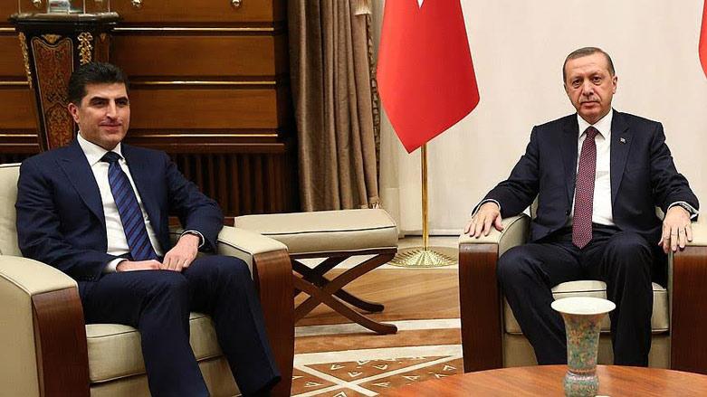 نيجيرفان بارازاني مع الرئيس التركي رجب طيب أردوغان - (الأناضول)