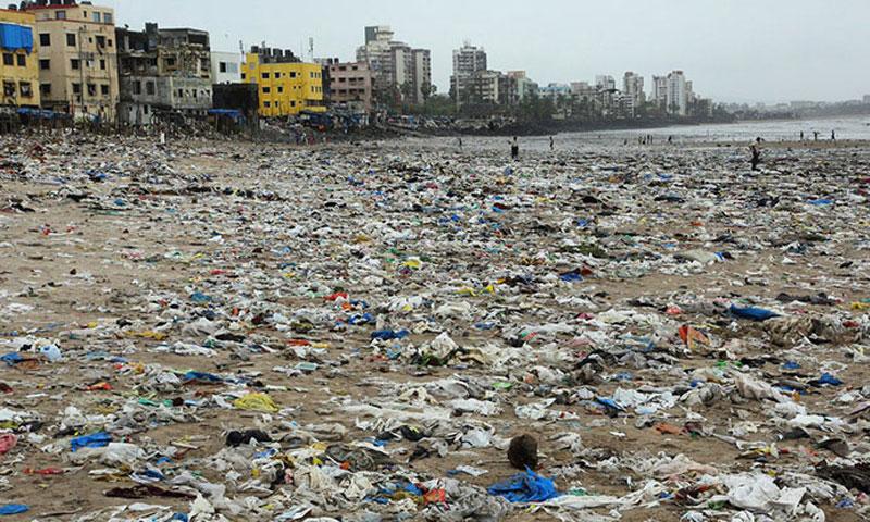 النفايات على شاطئ مومباي (انترنيت)