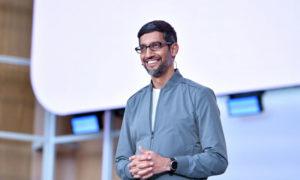 المدير التنفيذي لشركة جوجل سوندار بوتشاي خلال المؤتمر السنوي للشركة - 7 أيار 2019 (AFP)