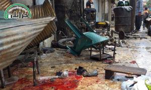 آثار انفجار الدراجة النارية المفخخة في جرابلس بريف حلب - 22 من أيار 2019 (المكتب الإعلامي لمدينة جرابلس)