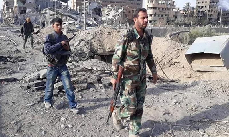 القيادي في قوات النمر إبراهيم الخليل في أثناء معارك الغوطة الشرقية - (قمحانة الآن)