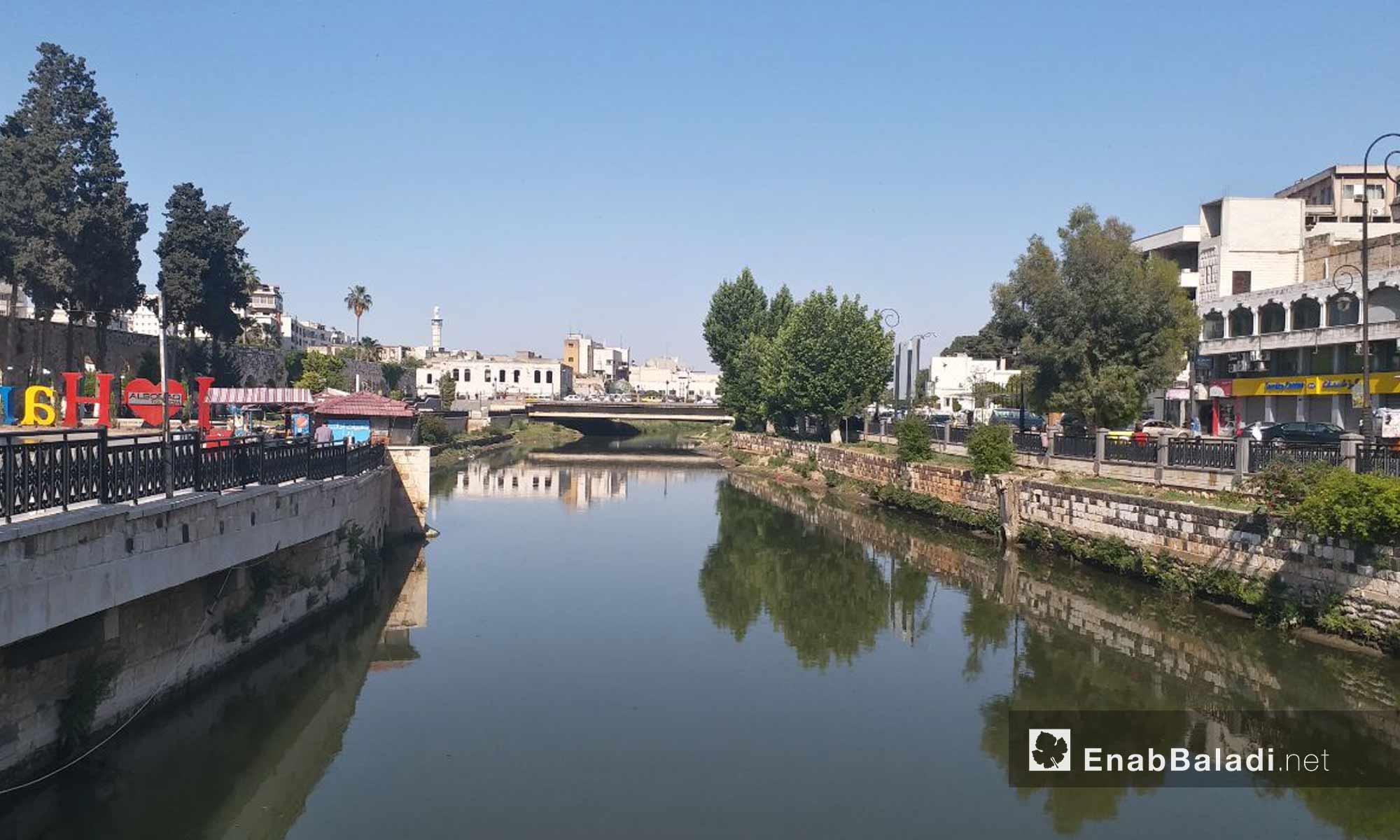 نهر العاصي خلال مروه في مدينة حماة - 18 من أيار 2019 (عنب بلدي)