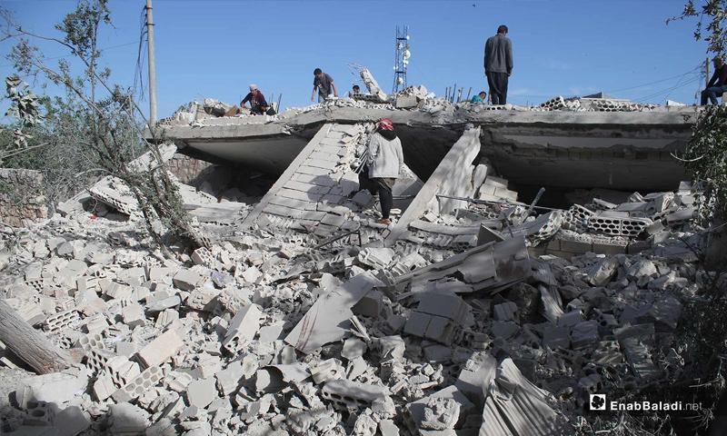 أثار الدمار بسبب القصف على قرية أبديتا في ريف إدلب – 3 من آيار 2019 (عنب بلدي)