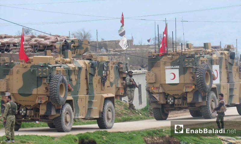 وصول الدورية العسكرية التركية السابعة إلى منطقة شير المغار بريف حماة الغربي 25 من آذار 2019 (عنب بلدي)
