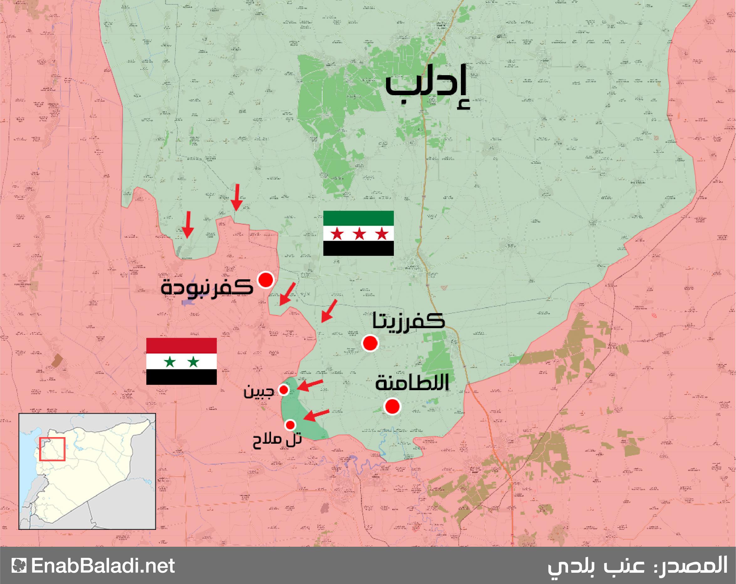 خريطة توضح المحاور التي تتقدم من خلالها فصائل المعارضة في ريف حماة الشمالي - 8 من حزيران 2019 (عنب بلدي)