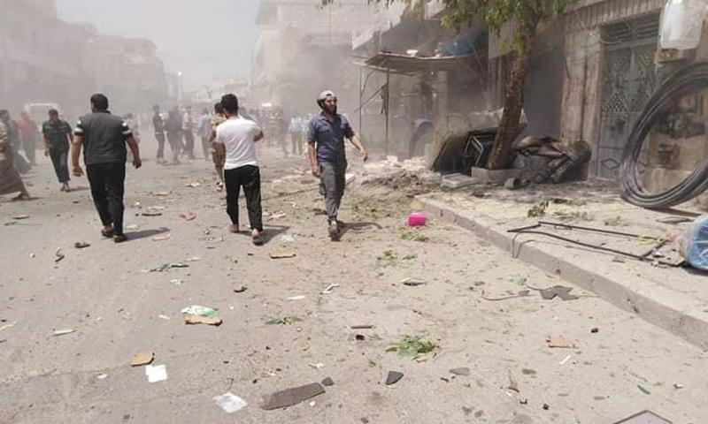 الآثار التي خلفها انفجار دراجة مفخخة في الباب بريف حلب الشرقي - 22 من حزيران 2019 (المحرر اليوم/ فيس بوك)