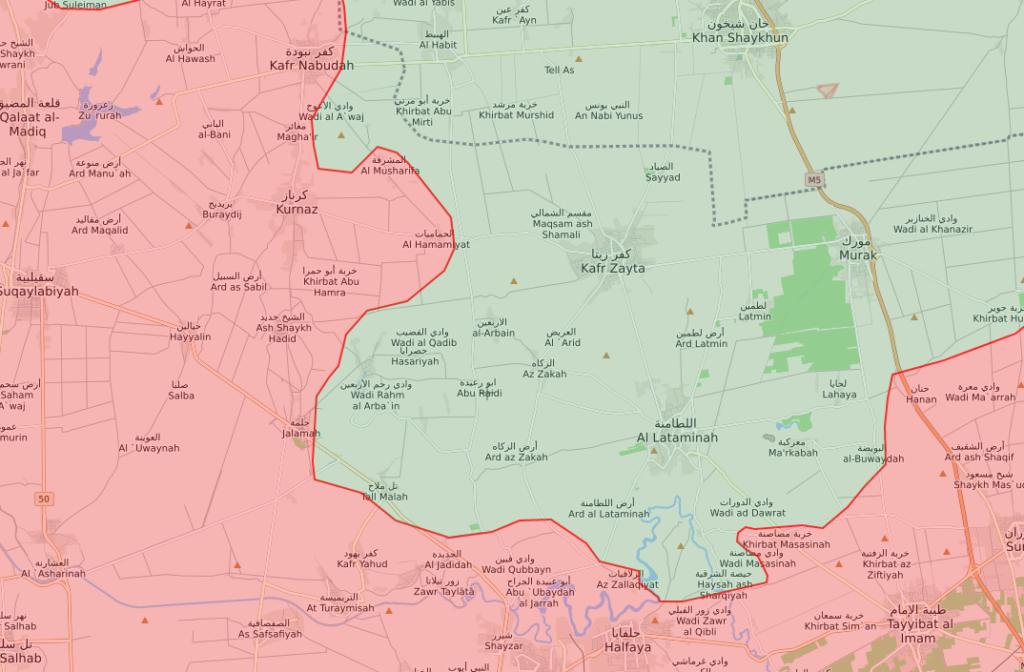 خريطة تظهر توزع مناطق السيطرة في ريف حماة الشمالي - 20 حزيران 2019 (Livemap)