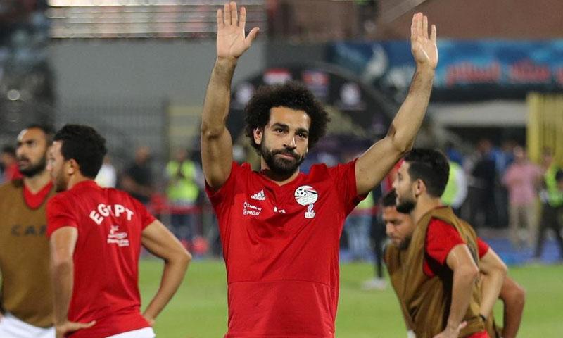 محمد صلاح في تدريبات المنتخب المصري (رويترز)