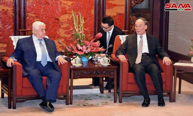وزير الخارجية السوري وليد المعلم ونائب الرئيس الصيني- 17 حزيران 2019 (سانا)