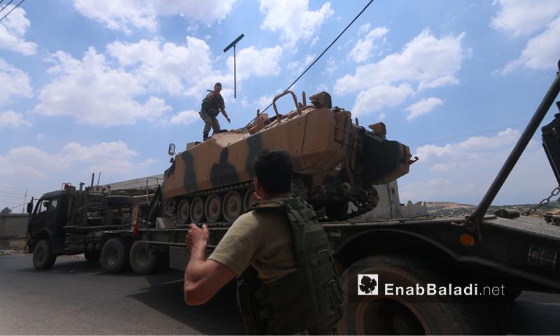 رتل تركي يدخل إلى نقطة المراقبة التركية في شير المغار بريف حماة الغربي- 15 من حزيران 2019 (عنب بلدي)