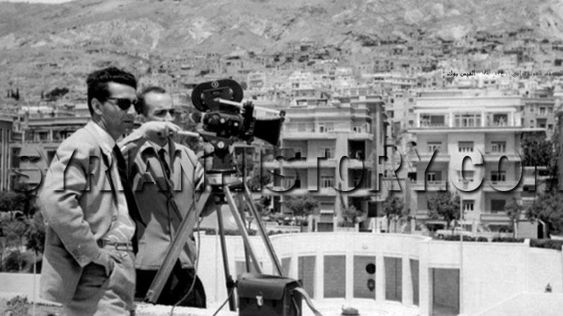 مدير التصوير جورج لطفي الخوري -يمين - ومخرج الفيلم اليوغسلافي فوتشينيتش أثناء تصوير الفيلم في دمشق 1966 (موقع التاريخ السوري)