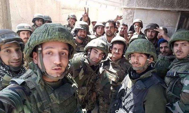 عناصر من قوات الأسد على جبهة القصابية بريف إدلب الجنوبي - 3 من حزيران 2019 (ANNA)