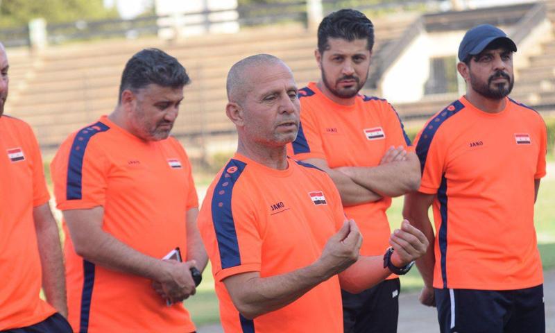 فجر إبراهيم في الحصة التدريبية للمنتخب السوري بالعاصمة السورية دمشق (الاتحاد السوري لكرة القدم)