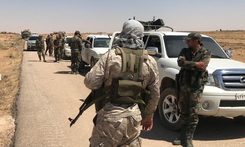 عناصر من قوات الأسد في ريف درعا الشرقي - 2018 (سبوتنيك)