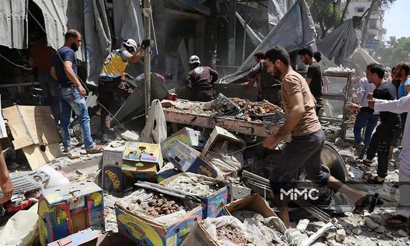 آثار القصف الجوي على سوق معرة النعمان بريف إدلب - 3 من حزيران 2019 (المركز الإعلامي العام mmc)