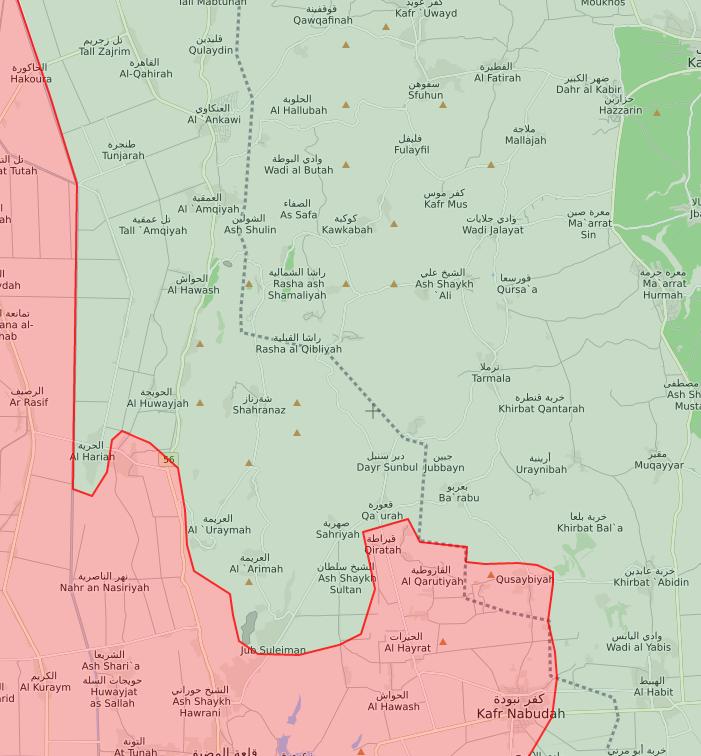 خريطة توضح آخر التطورات الميدانية في ريفي حماة الشمالي وإدلب الجنوبي - 6 من حزيران 2019 (lm)