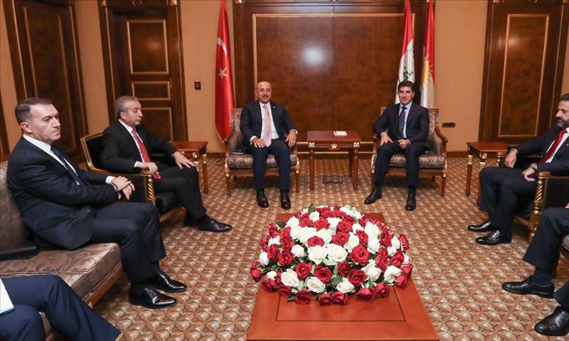 وزير الخارجية التركي يلتقي نيجرفان بارزاني في أربيل - 10 من حزيران 2019 (الأناضول)