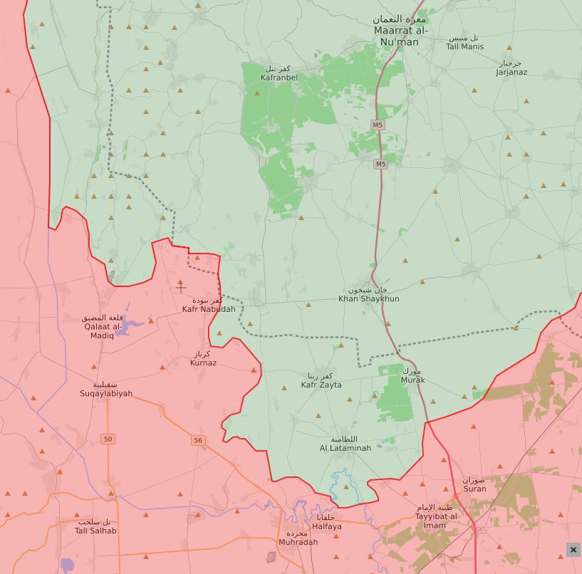 خريطة توضح مناطق نفوذ النظام السوري والمعارضة في الشمال السوري- 7 من حزيران 2019 (lm)