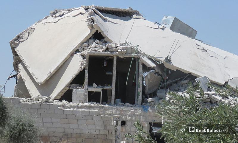 آثار قصف الطيران الحربي لبلدة معرتحرمة جنوبي إدلب - 10 من تموز 2019 (عنب بلدي)
