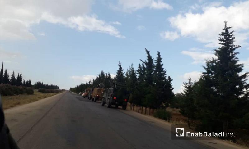 آليات تركية تتجه إلى نقاط المراقبة في مورك بريف حماة الشمالي - 18 من تموز 2019 (عنب بلدي)