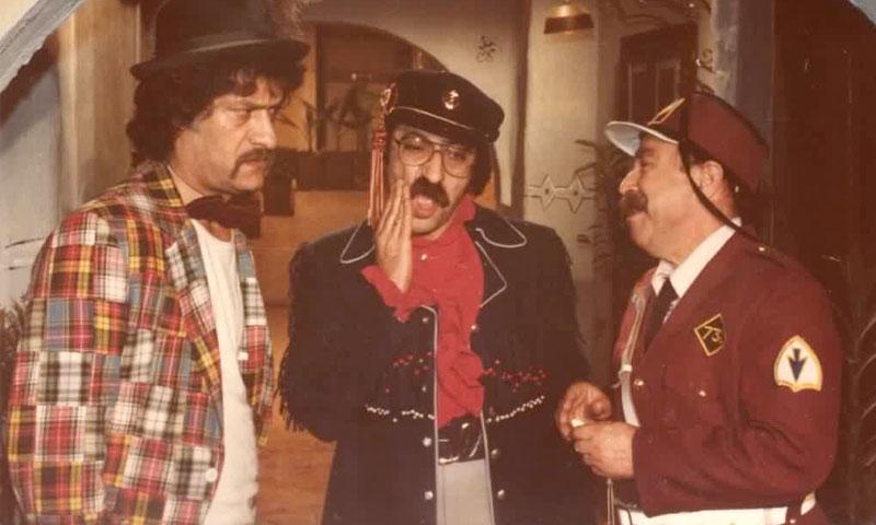 الممثل السوري محمد طرقجي بجانب الممثل دريد لحام وناجي جبر في مسلسل وادي المسك 1982 (صفحة الفنان طرقجي)