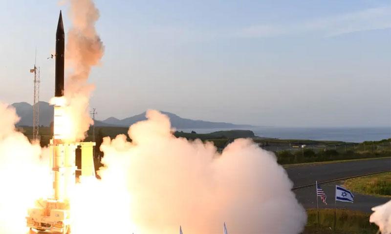 """اختبار صواريخ """"آرو-3"""" الإسرائيلية في آلاسكا - 28 تموز 2019 (وزارة الدفاع الإسرائيلية)"""