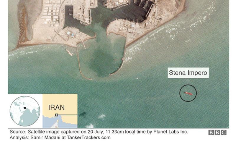 صورة بالأقمار الصناعية تبين وجود الناقلة البريطانية عند مرفأ إيراني - 22 تموز 2019 (بي بي سي)