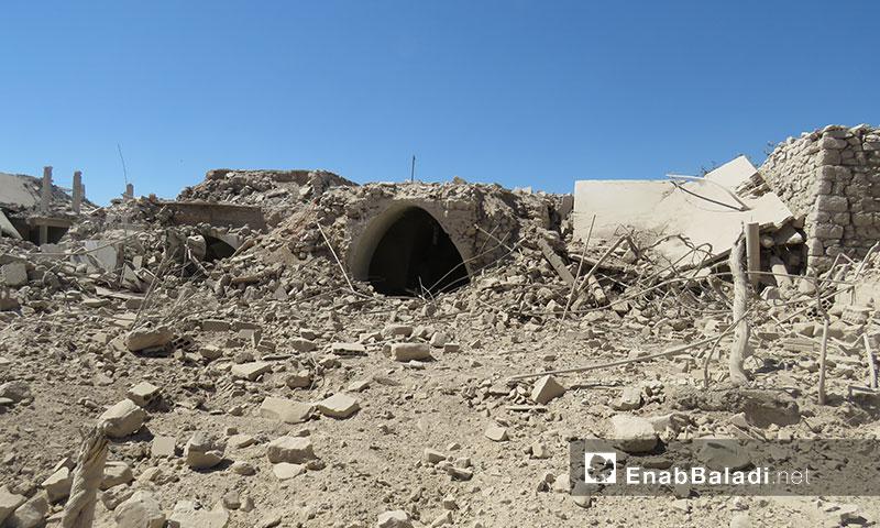 آثار القصف الجوي للطيران السوري والروسي على المنازل السكنية في بلدةجبالا بريف إدلب الجنوبي 21 تموز 2019 (عنب بلدي)