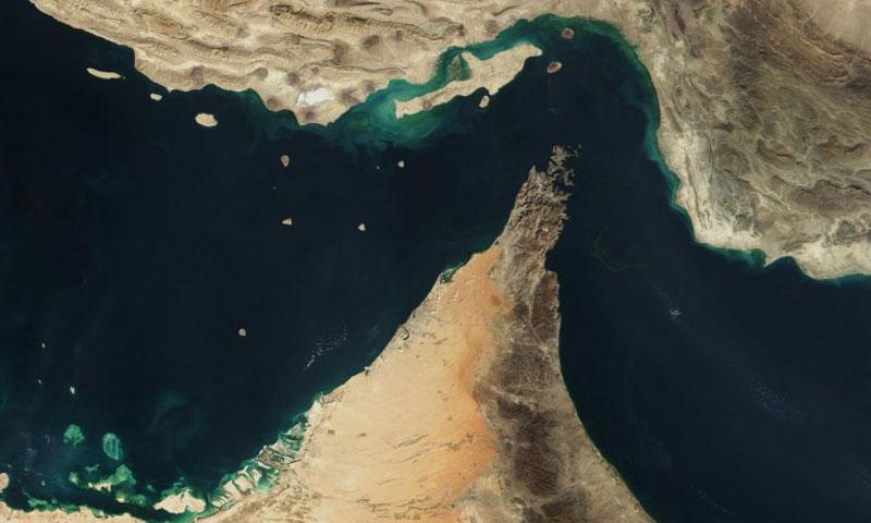 صورة من الأقمار الصناعية لمضيق هرمز في الخليج العربي