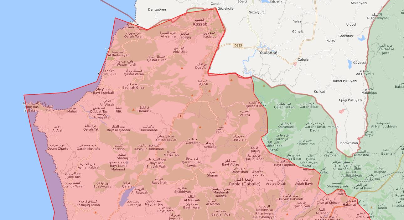 خريطة توضح نفوذ فصائل المعارضة وقوات الأسد في ريف اللاذقية - 9 من تموز 2019 (lm)