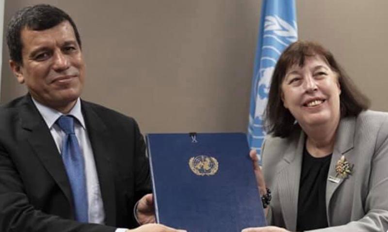 قائد قوات سوريا الديمقراطية مظلوم عبدي في مقر الأمم المتحدة في جنيف - 1 من تموز 2019 (الأمم المتحدة)