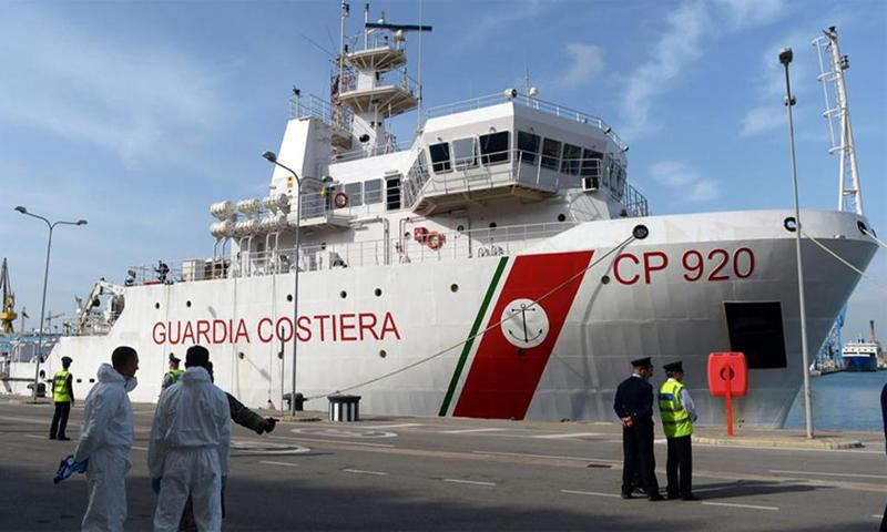 سفينة غريغوريتي التابعة لخفر السواحل الإيطالي، 2019، المصدر (AFP)