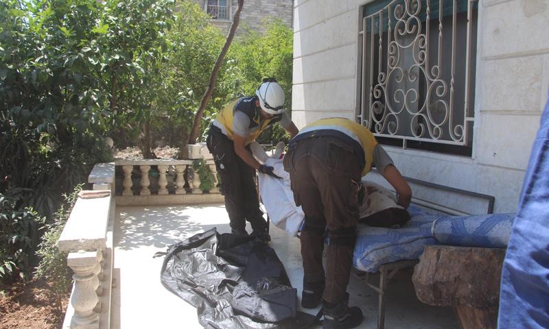الدفاع المدني يعثر على جثة امرأة مسنة من أهالي اليعقوبية بريف إدلب - 18 من تموز 2019 (الدفاع المدني)