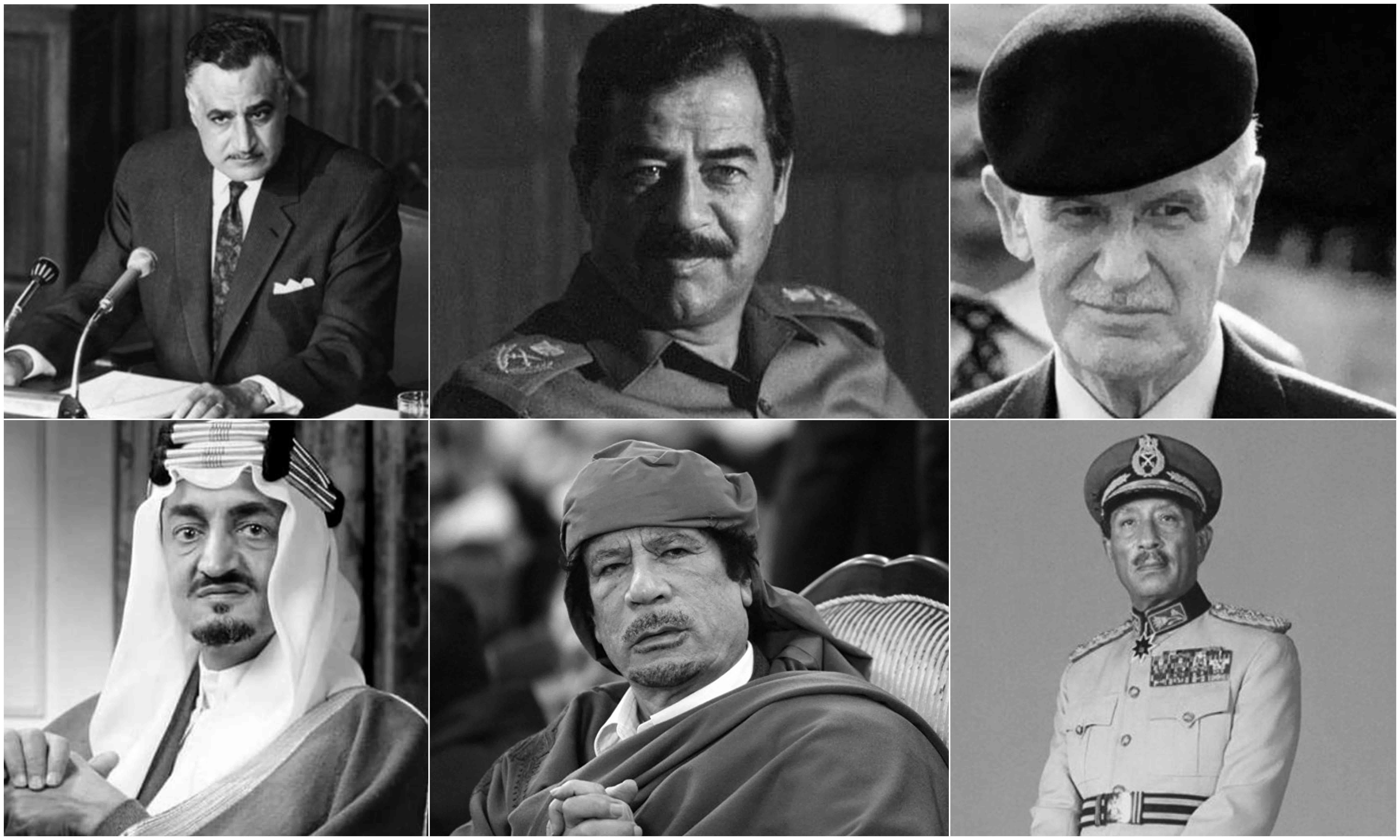 حافظ الأسد- صدام حسين- جمال عبد الناصر- أنور السادات- معمر القذافي- الملك فيصل آل سعود (تعديل عنب بلدي)