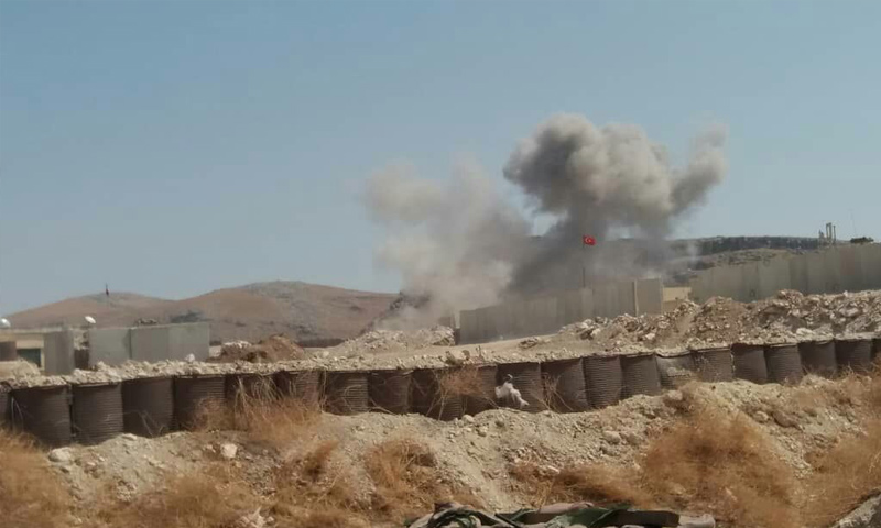 قصف جوي يستهدف محيط نقة المراقبة العاشرة التركية في إدلب - 28 من آب 2019 (تلغرام)