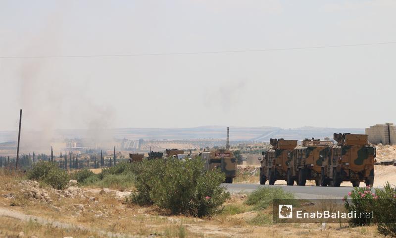 رتل تركي في مدينة معرة النعمان في إدلب- 19 من آب 2019 (عنب بلدي)