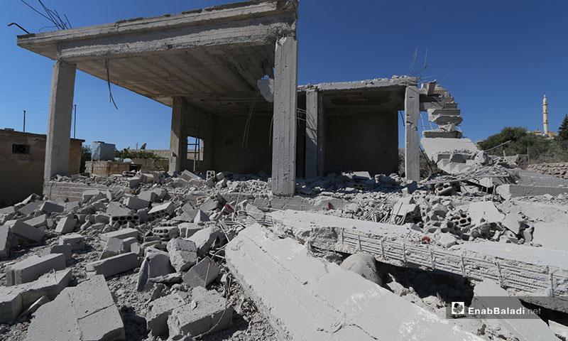 آثار قصف الطيران الحربي على بلدة كفر عويد جنوبي إدلب - 26 من آب 2019 (عنب بلدي)