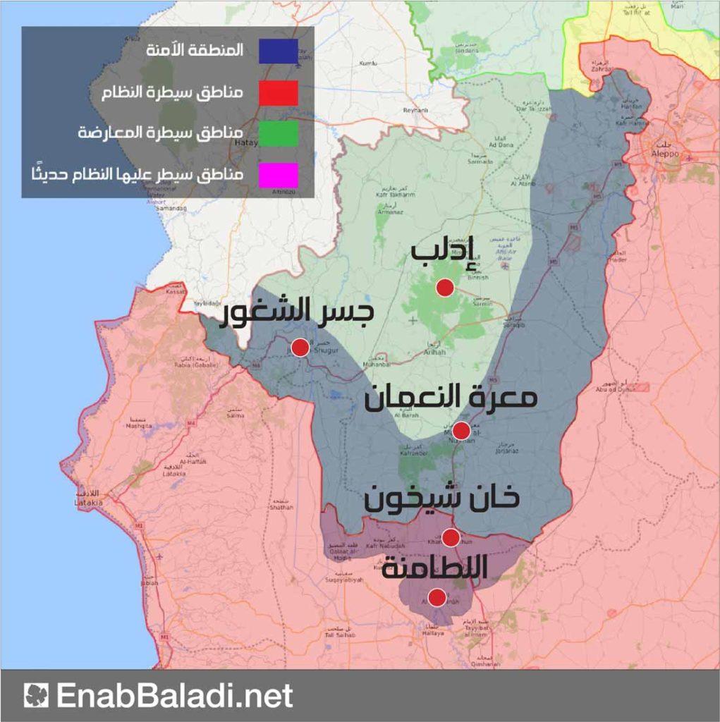 خريطة تظهر تقدم المنطقة العازلة في ريف حماة الشمالي - 24 آب 2019 (عنب بلدي)