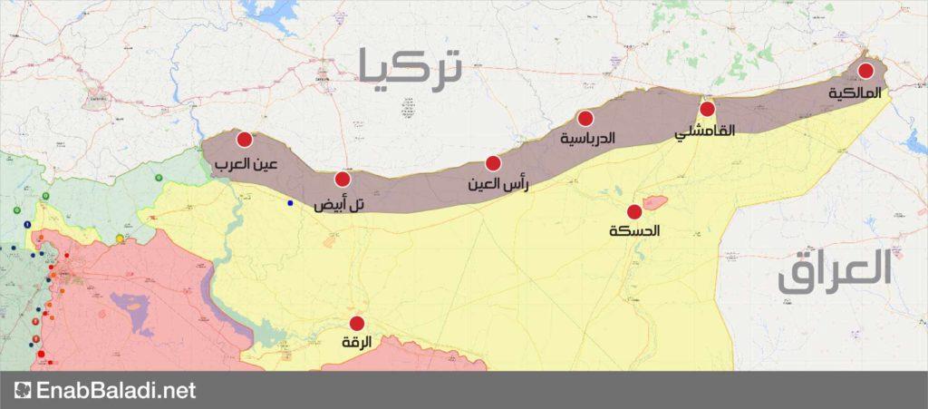 خريطة توضح حدود المنطقة الآمنة المقترحة من قبل تركيا في شمالي سوريا (عنب بلدي)