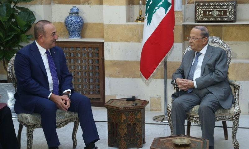 الرئيس اللبناني ميشال عون يستقبل وزير الخارجية التركي في بيروت- 23 آب 2019 (NNA)