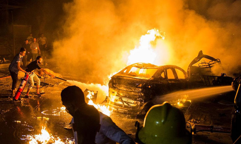 حادث تصادم سيارات في القاهرة- 4 من آب 2019 (EPA)