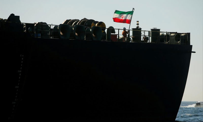 ناقلة النفط الإيرانية غريس 1 في جبل طارق - 18 آب 2019 (رويترز)