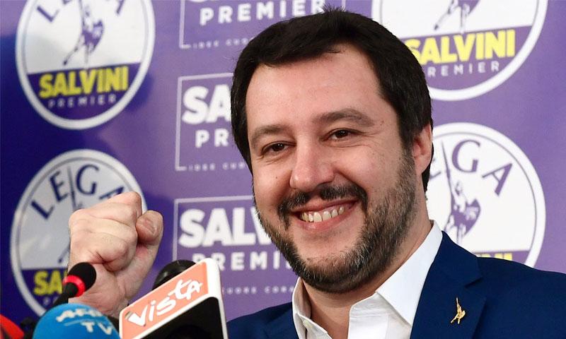 وزير الداخلية الإيطالي ماتيو سالفيني - حزيران 2018 (Miguel MEDINA)