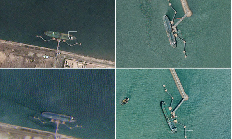 صور الأقمار الصناعية التي تبين وصول ناقلات النفط الإيرانية إلى المرافئ الصينية - 3 آب 2019 (نيويورك تايمز)