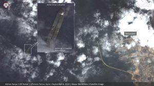 """صور بواسطة الأقمار الصناعية تظهر ناقلة النفط الإيرانية """"أدريان داريا-1"""" قرب سواحل طرطوس (MAXAR)"""