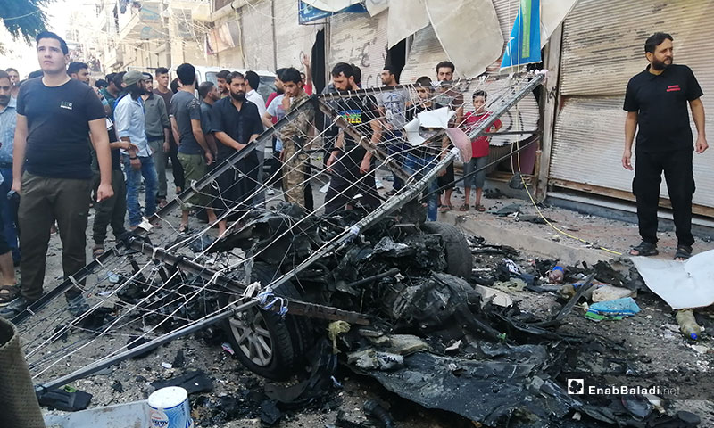 انفجار سيارة مخففة وسط مدينة عفرين بريف حلب - 13 من أيلول 2019 (عنب بلدي)
