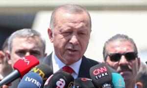 الرئيس التركي رجب طيب أردوغان في مؤتمر صحفي عن تفجير ديار بكر- 13 من أيلول 2019 (الأناضول)