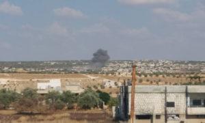 قصف جوي من طيران النظام على ريف إدلب الجنوبي - 12 من أيلول 2019 (ناشطون من إدلب عبر فيس بوك)