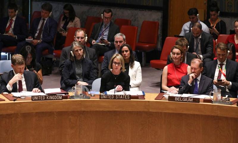سفيرة الولايات المتحدة الأمريكية لدى الأمم المتحدة كيلي كرافت في جلسة مجلس الأمن (كيلي كرافت تويتر)