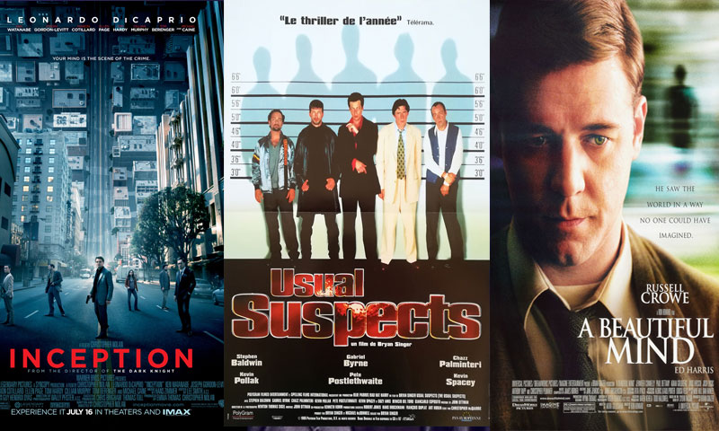 الملصقات الإعلانية لأفلام BEAUTIFUL MIND- INCEPTION- THE USUAL SUSPECT (تعديل عنب بلدي)